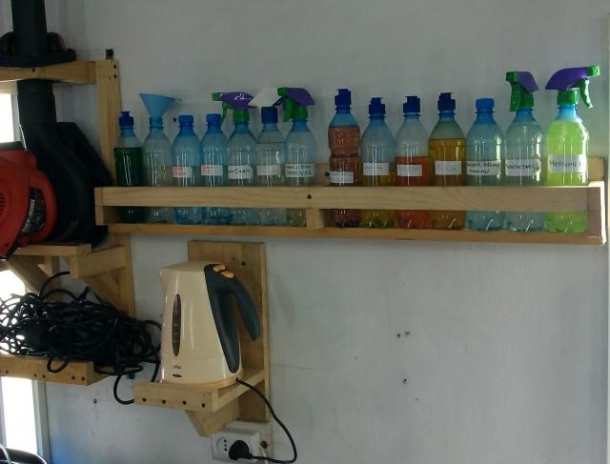 Полочка для бутылей с химией