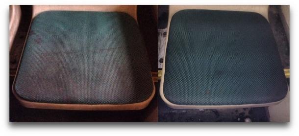 Сидения до и после обработки очистителем Double